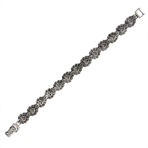 Sterling Silver Heart Marcasite Bracelet 7/16 inch wide, 7 inch long