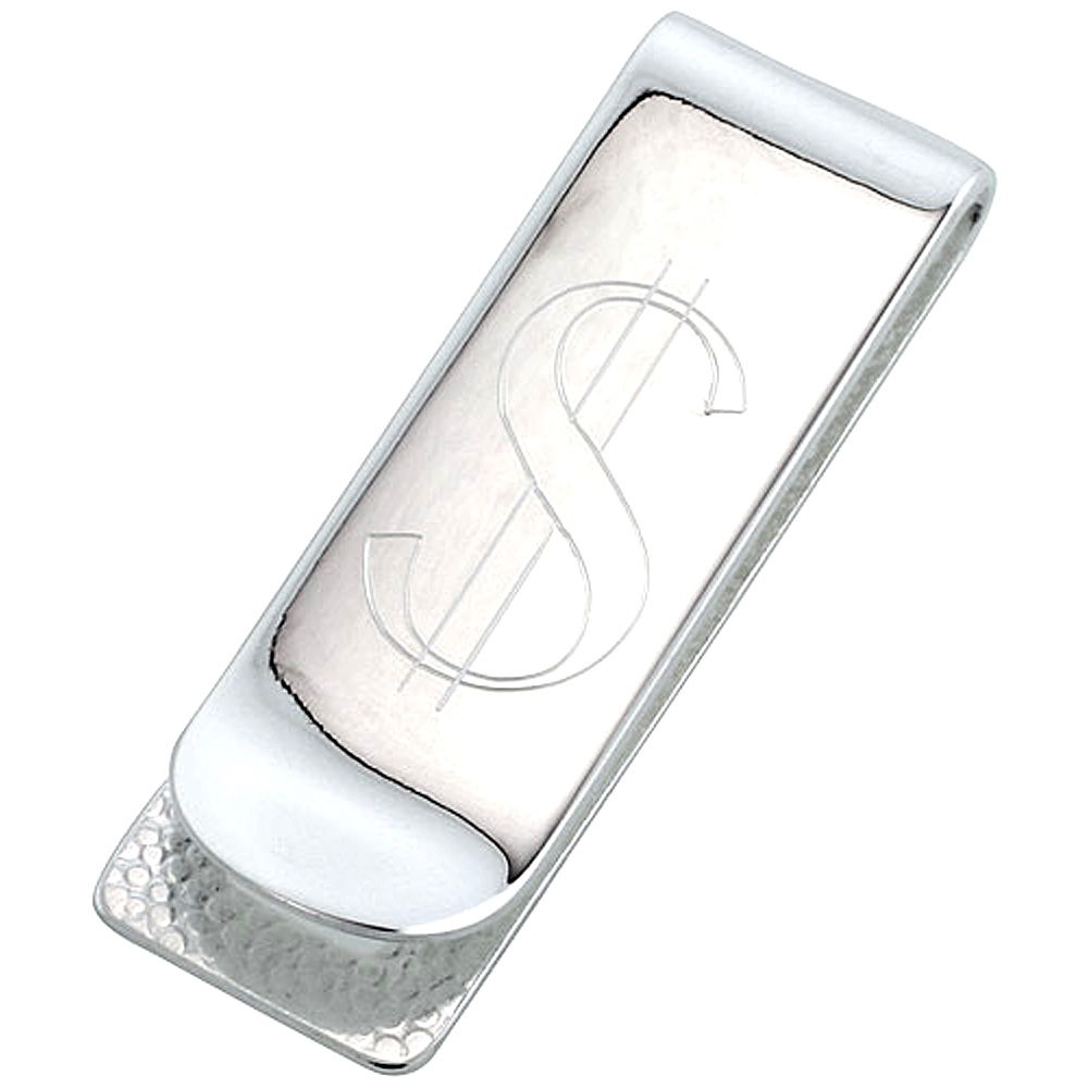 Sterling Silver Money Clip Dollar Sign Engraved Narrow Italy, 3/4 X 2 1/4 inch