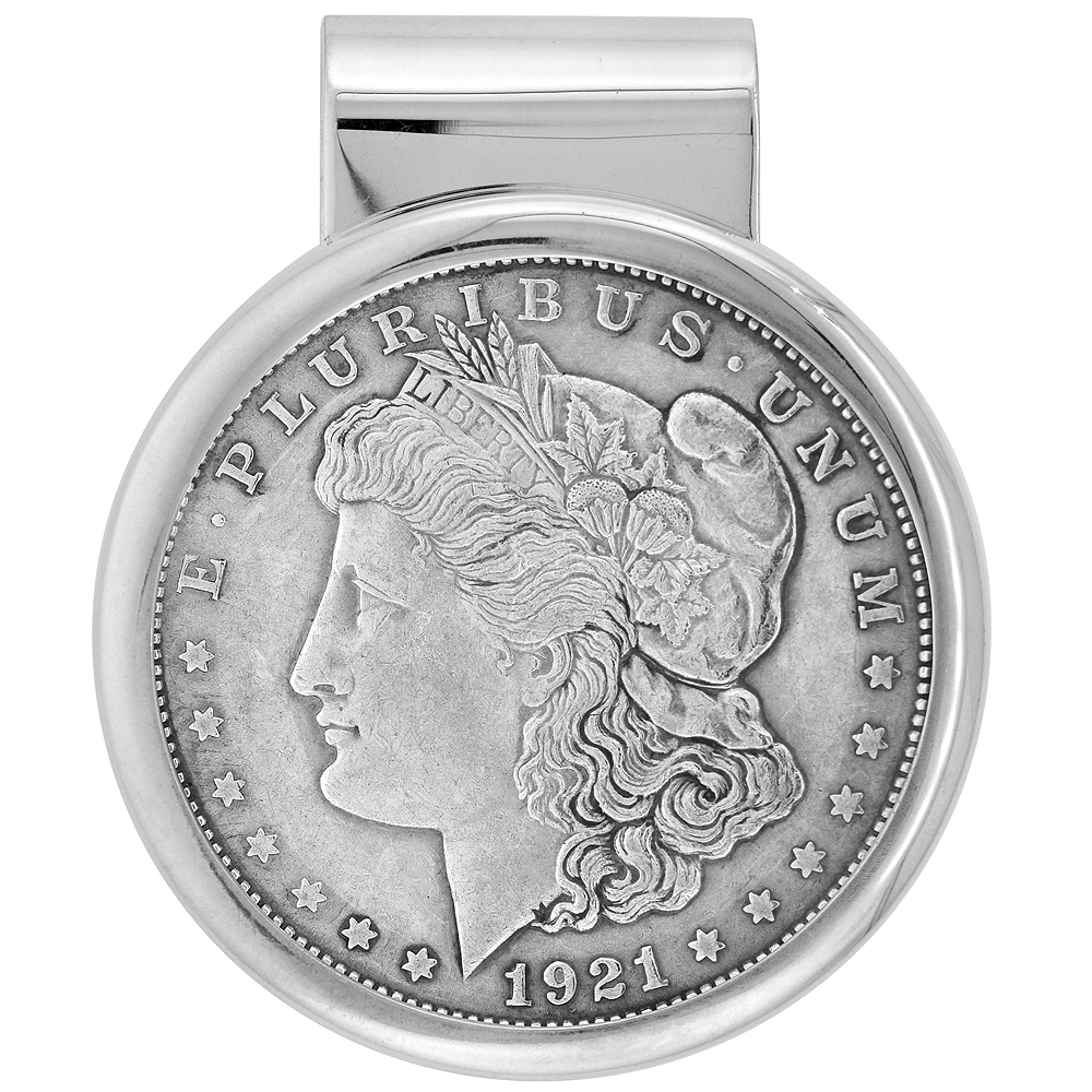 Sterling Silver Dollar Money Clip with Morgan Dollar Coin included
