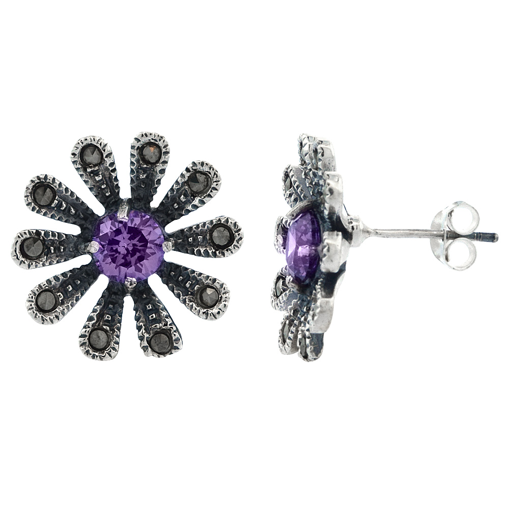 Sterling Silver Cubic Zirconia Amethyst Daisy Marcasite Stud Earrings, 3/4 inch wide