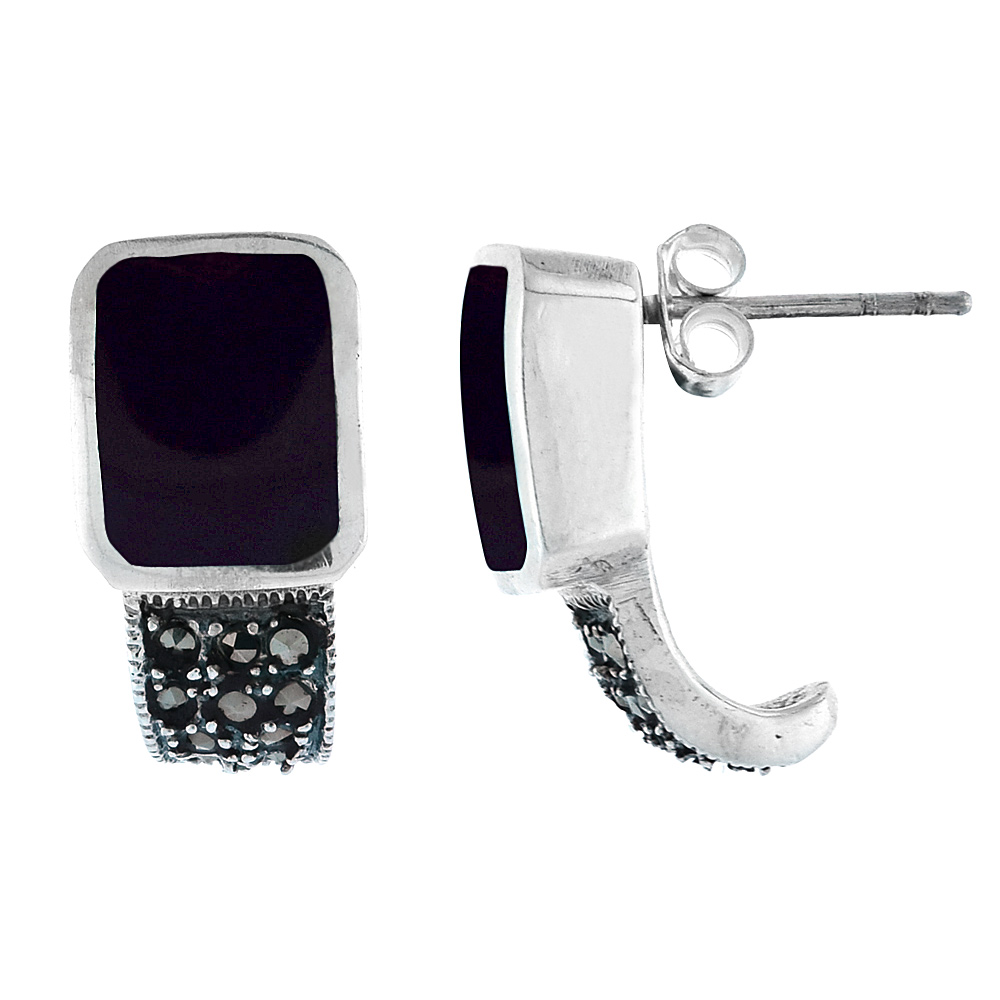 Sterling Silver Rectangular Black Onyx Marcasite Earrings, 3/4 inch long