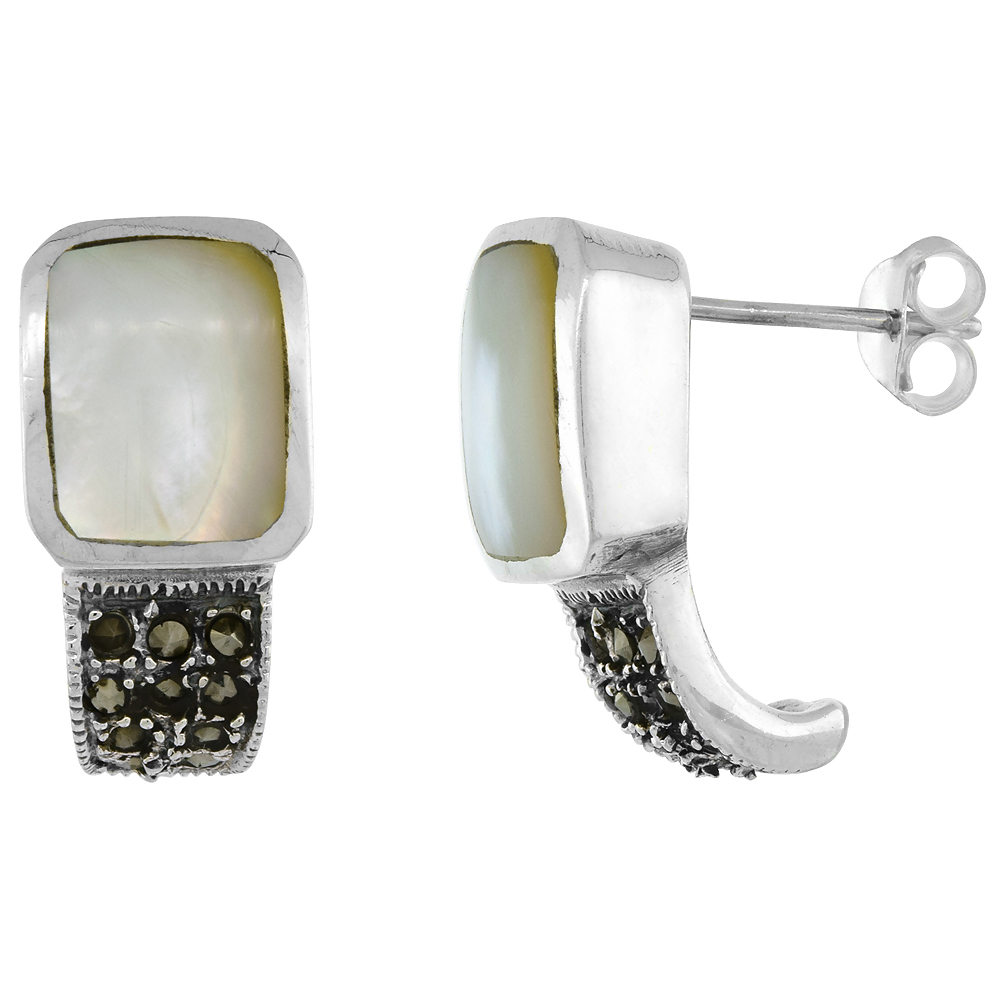 Sterling Silver Rectangular Mother of Pearl Marcasite Earrings, 3/4 inch long