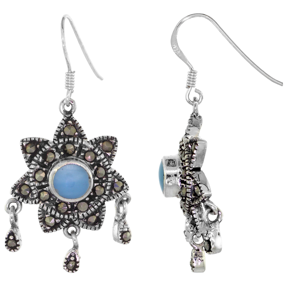 Sterling Silver Light Blue Sun Marcasite Dangle Earrings, 1 1/2 inch long