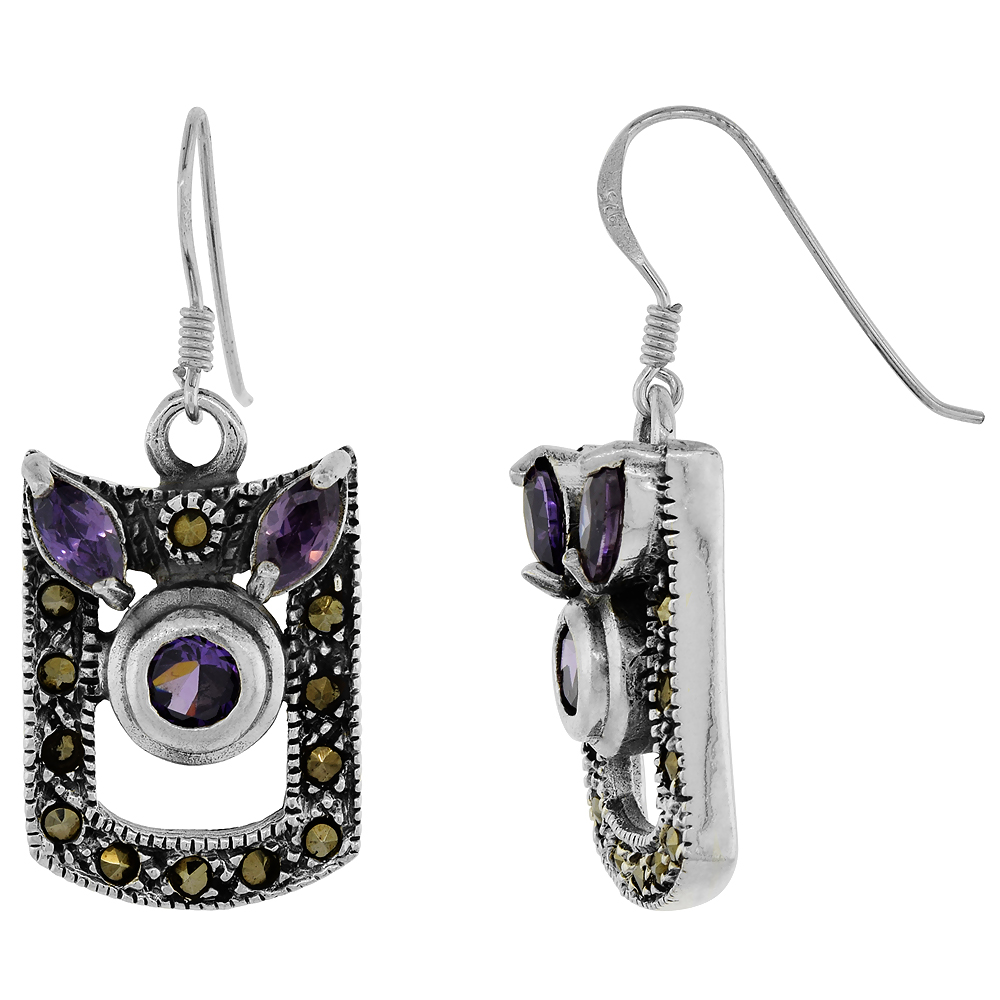 Sterling Silver Marcasite Dangle Earrings Cubic Zirconia Accents in Purple and Red Colors