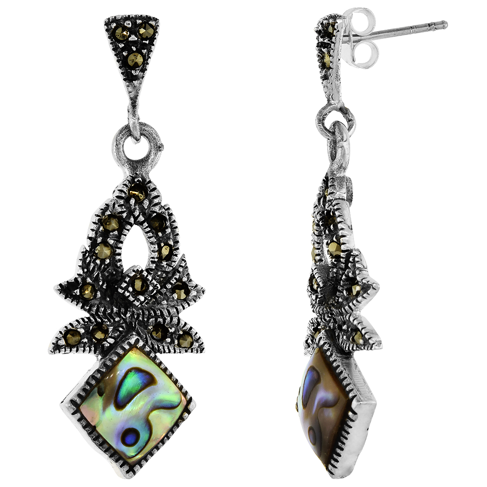 Sterling Silver Marcasite Dangle Earrings Square in Abalone and Turquoise