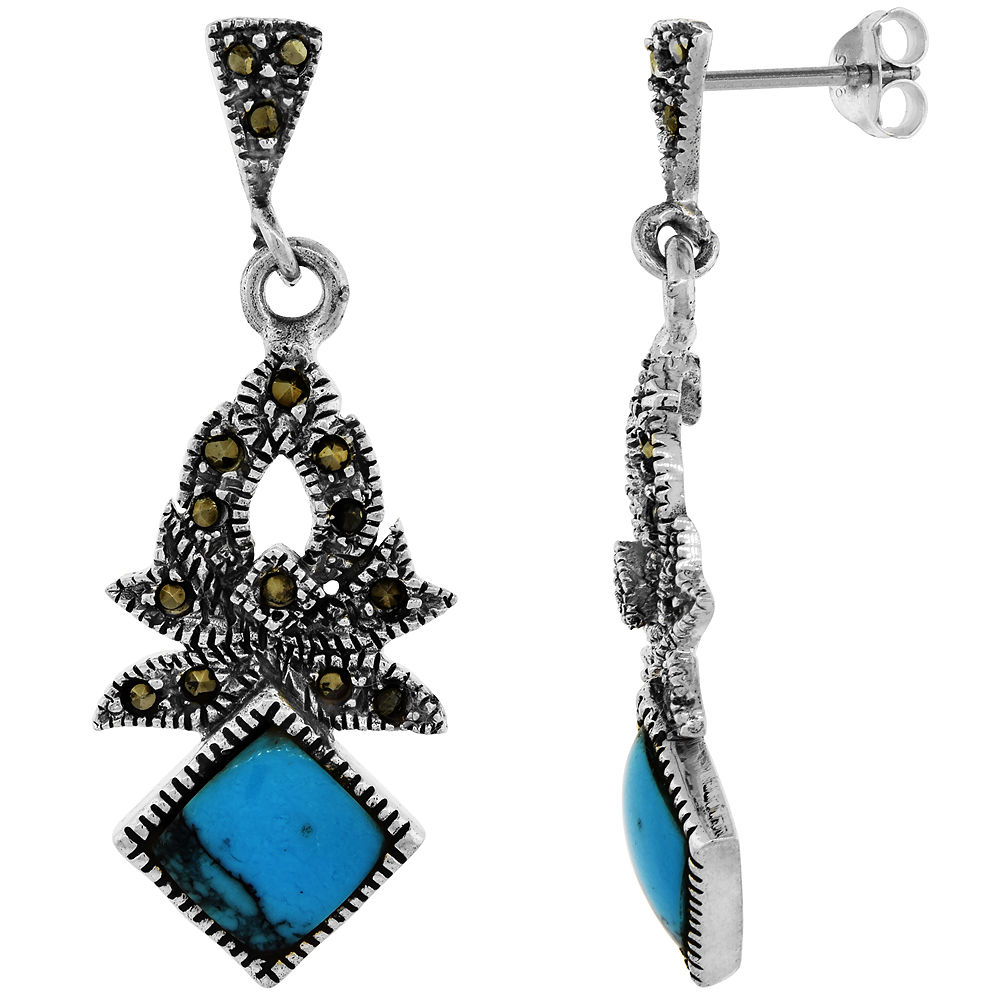 Sterling Silver Marcasite Dangle Earrings Square Turquoise, 9/16 inch wide