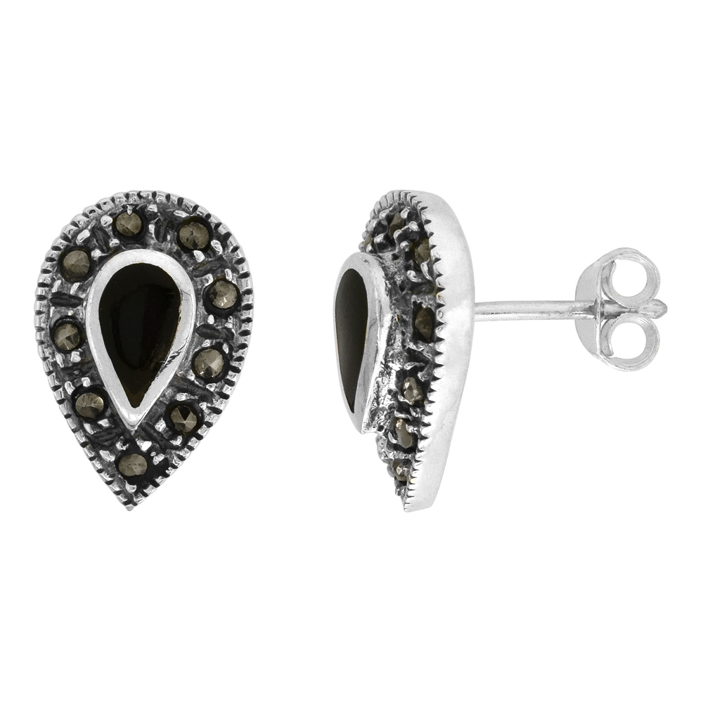 Sterling Silver Black Onyx Marcasite Earrings Pear shape, 7/16 inch wide