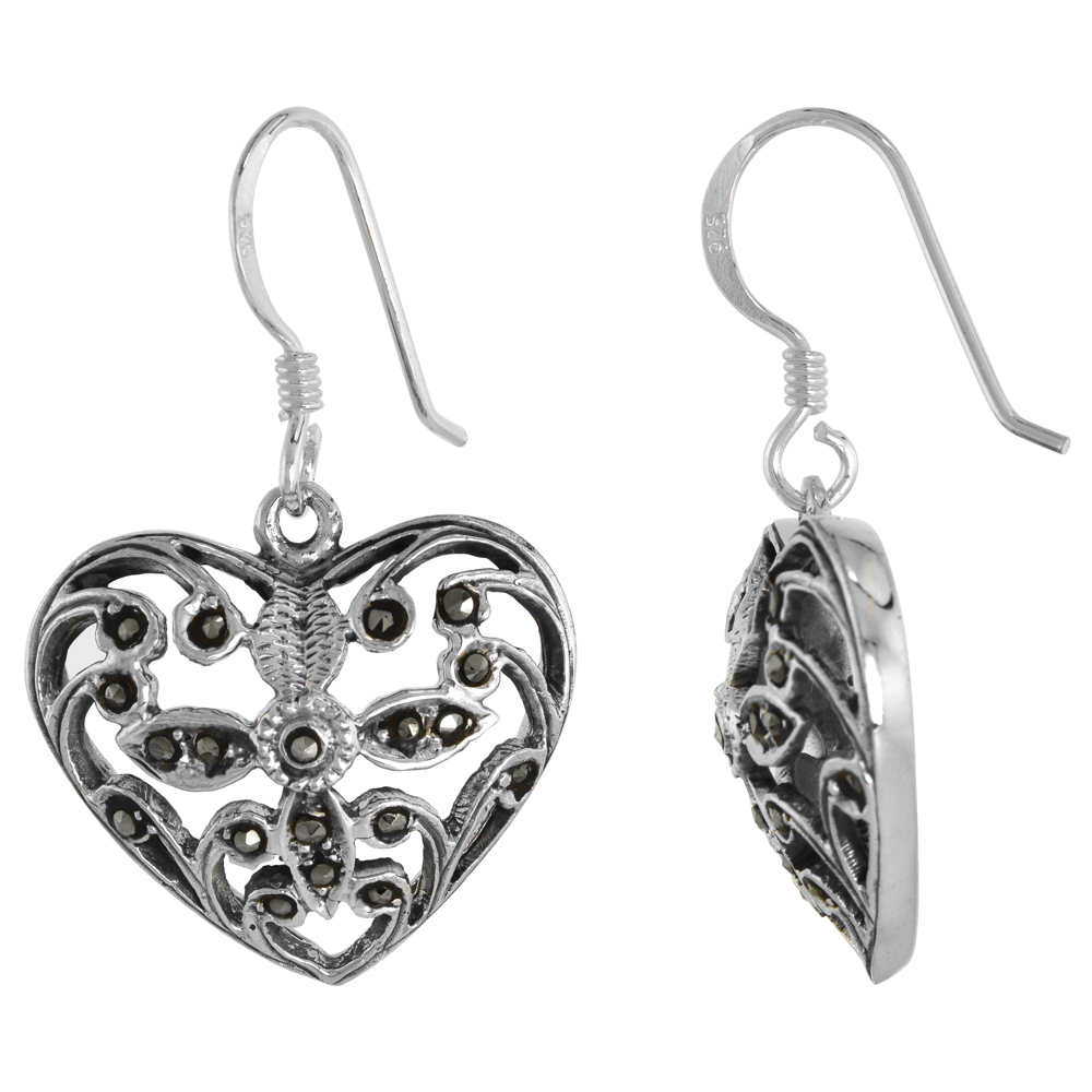 Sterling Silver Marcasite Heart Dangle Earrings, 13/16 inch wide