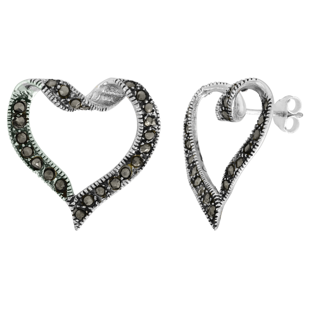 Sterling Silver Cut-out Heart Marcasite Stud Earrings, 7/8 inch wide