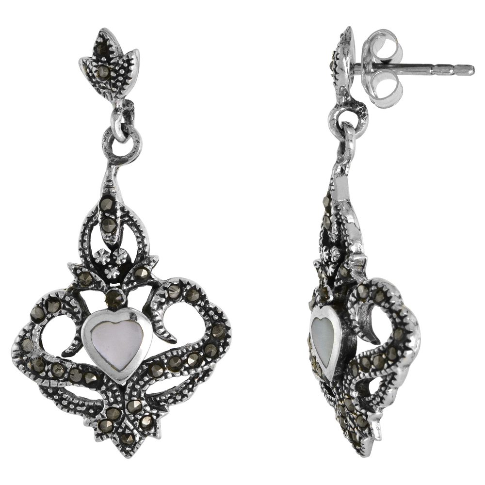 Sterling Silver White Mother of Pearl Heart Marcasite Dangle Earrings, 11/16 inch wide