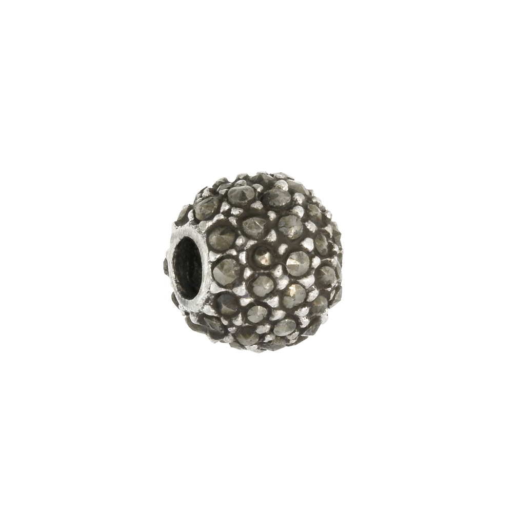 Sterling Silver 7mm Marcasite Bead Charm