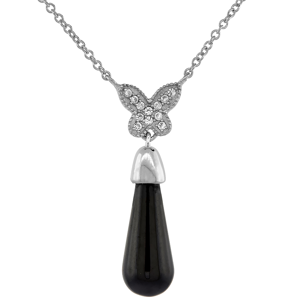 Sterling Silver Cable Butterfly Necklace in Rose Gold & Rhodium Finishes & Ceramic,7/16 inch wide