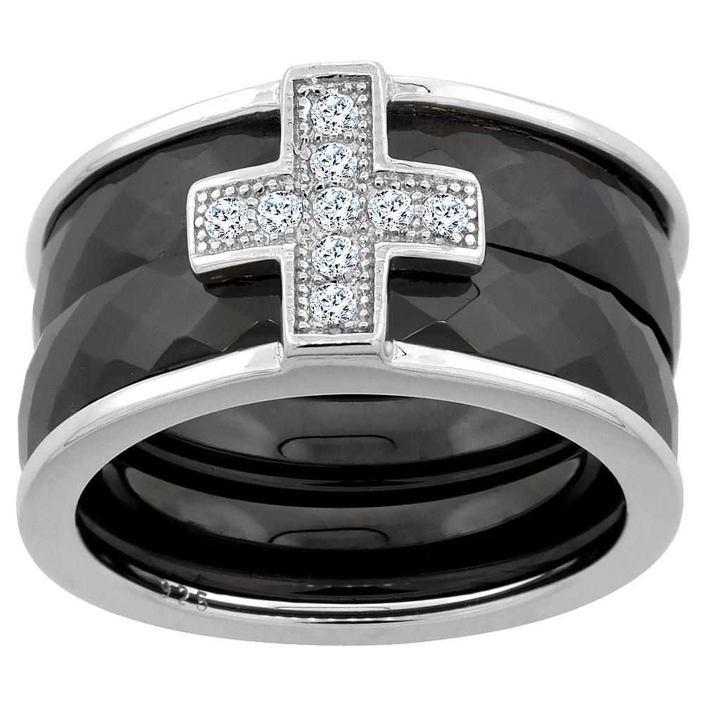 3pc Sterling Silver Cubic Zirconia Cross & Faceted Black Ceramic Ring, 7/16 inch wide, sizes 6 - 8.5