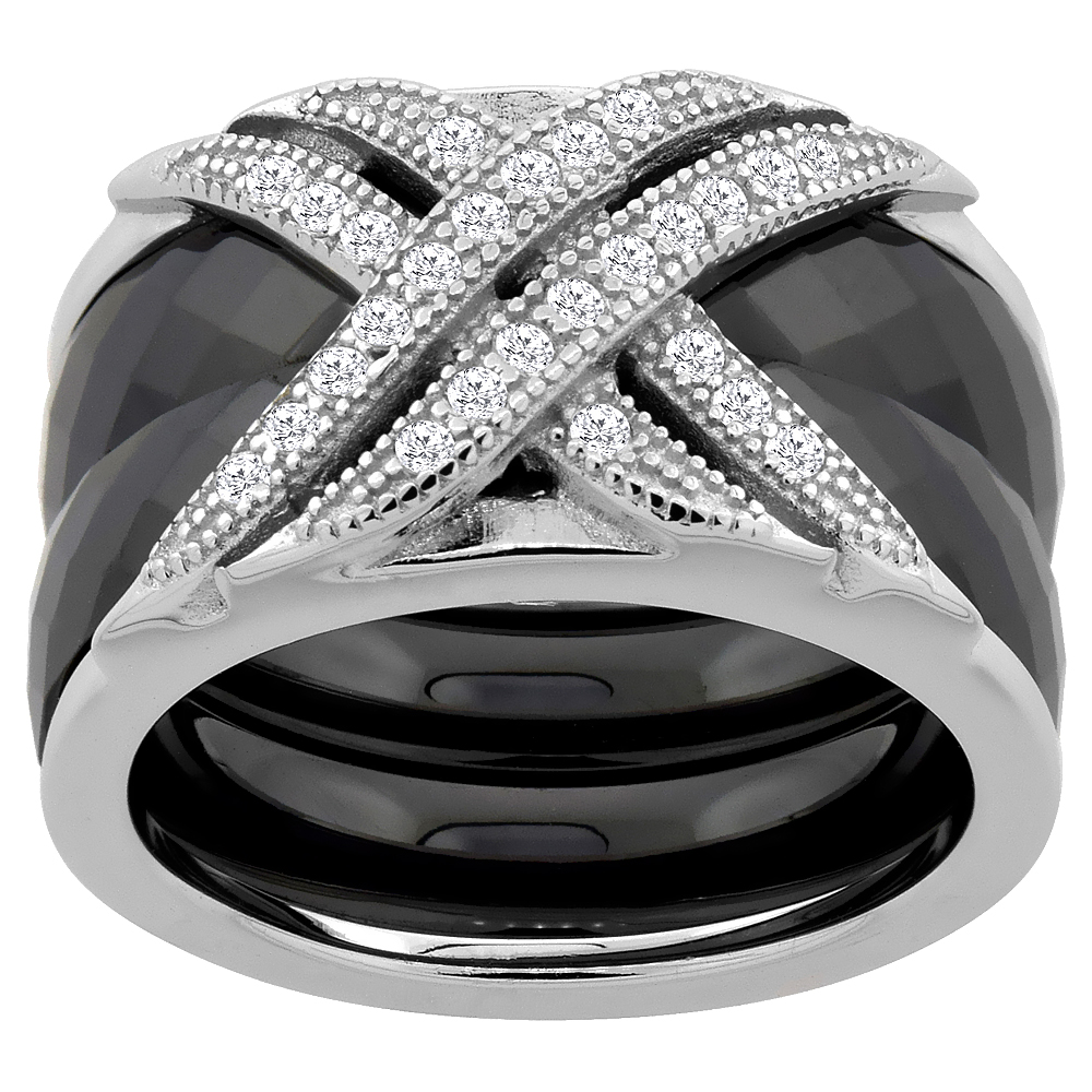 3pc Sterling Silver Cubic Zirconia CrissCross Ring & Faceted Black Ceramic, 7/16 inch wide, sizes 6 - 8