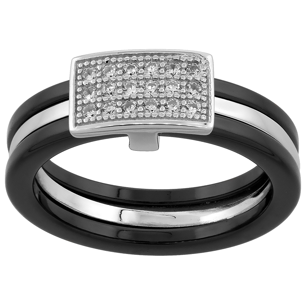 Sterling Silver Cubic Zirconia Rectangular Ring & Black Ceramic, 1/4 inch wide, sizes 6 - 8