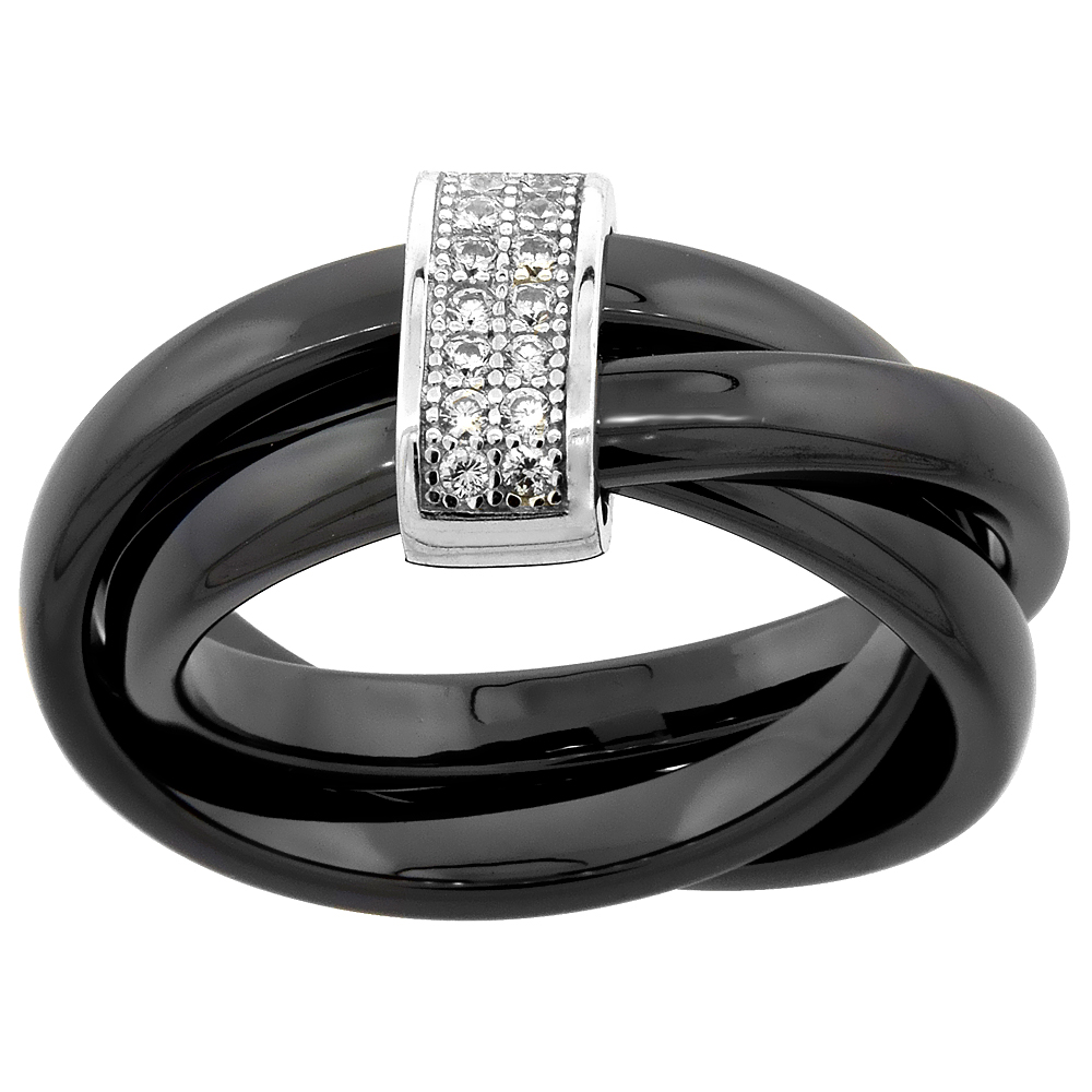 Black Ceramic Rolling Ring & Rectangular Cubic Zirconia Accents, 7/16 inch wide, sizes 6 - 8