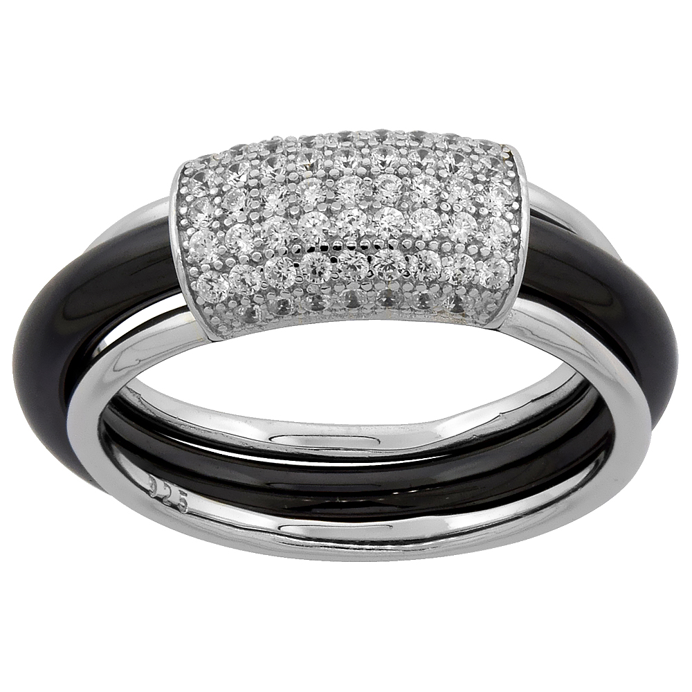 Sterling Silver Rectangular Cubic Zirconia Black Ceramic Ring, 1/4 inch wide, sizes 5 - 8