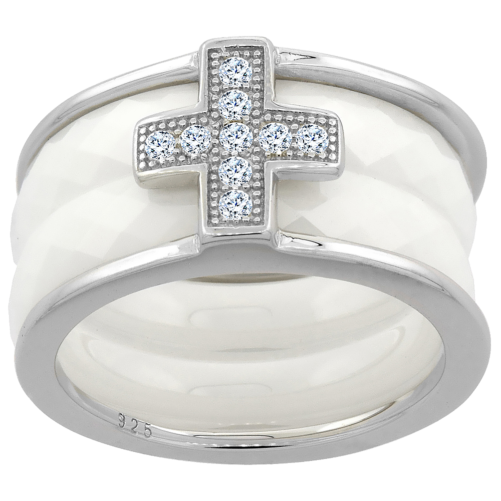 3pc Sterling Silver Cubic Zirconia Cross Ring & Faceted White Ceramic, 7/16 inch wide, sizes 6 - 8