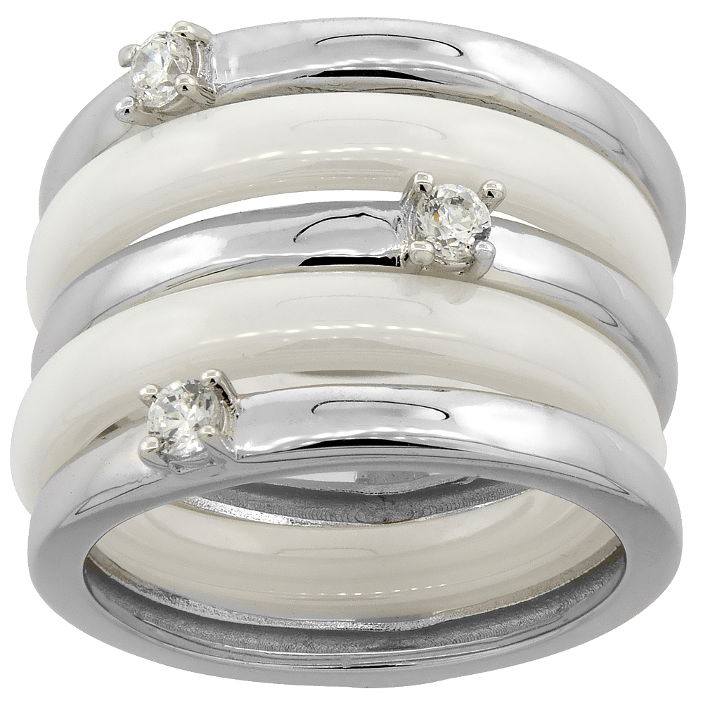 3pc Sterling Silver Cubic Zirconia Wide Ring & White Ceramic, 9/16 inch wide, sizes 6 - 8