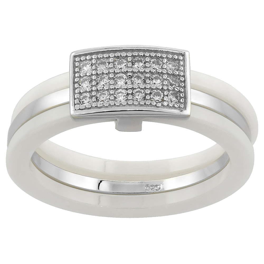 Sterling Silver Cubic Zirconia Rectangular Ring & White Ceramic, 1/4 inch wide, sizes 6 - 8