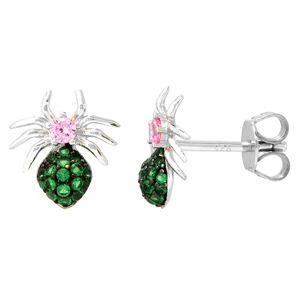 Dainty Sterling Silver Spider Earrings Studs Green and Pink CZ Micropave Rhodium Plated  3/8 inch (11mm) long
