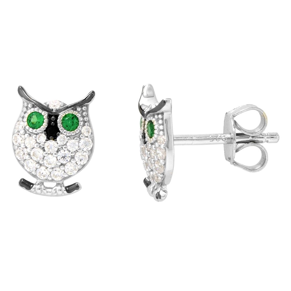 Dainty Sterling Silver Owl Earrings Studs Green and White CZ Micropave Rhodium Plated  3/8 inch (11mm) long