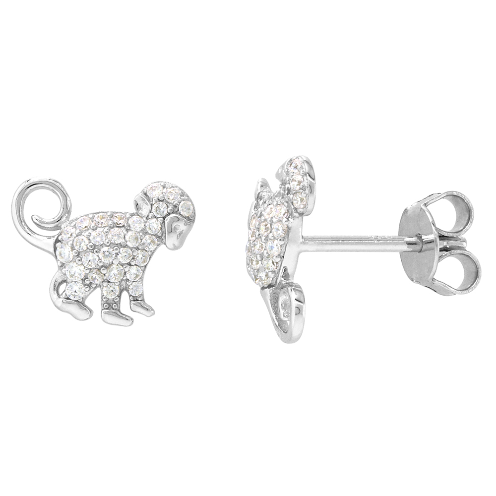Dainty Sterling Silver Monkey Earrings Studs White CZ Micropave Rhodium Plated  1/2 inch (12mm) wide