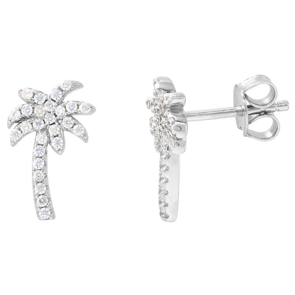 Dainty Sterling Silver Palm Tree Earrings Studs White CZ Micropave Rhodium Plated  1/2 inch (14mm) long