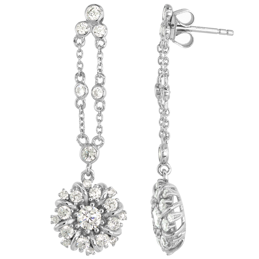 Dainty Sterling Silver CZ Round Dangle Post Cluster Earrings Studs Studs for Women Rhodium Plated 1 5/8 inch (42mm) long