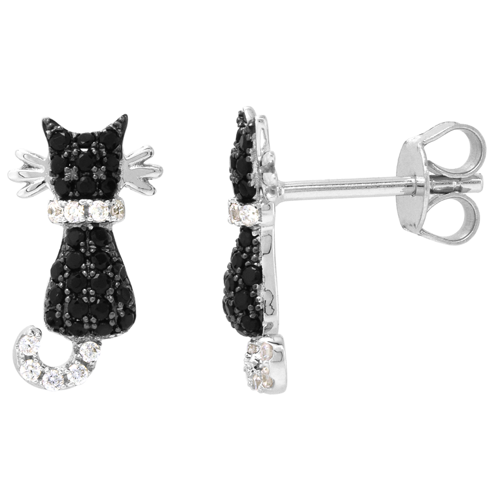 Dainty Sterling Silver Cat Earrings Studs Black CZ Micropave Rhodium Plated  5/8 inch (15mm) wide