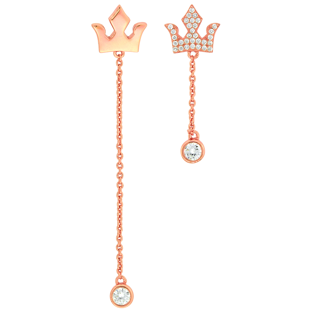 Rose gold Plated Sterling Silver Cubic Zirconia Trident Crown Earrings Micropave CZ 2 3/8 inch