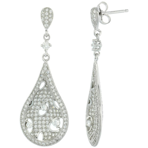 Sterling Silver Micro Pave Bubbly Pear Shape Earring w/ White Stones