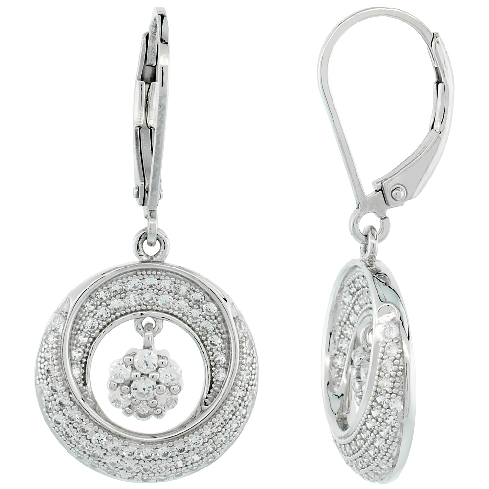 Sterling Silver Micro Pave Cubic Zirconia Double Moon lever back Earring Centered Dangling Flower In White Stones