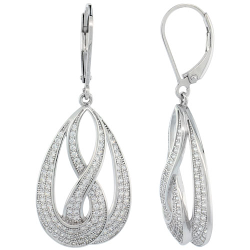 Sterling Silver Micro Pave Open Double Infinity lever back Earring w/ White Stones