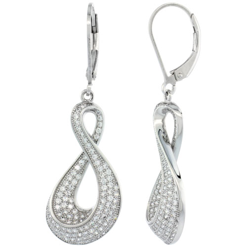 Sterling Silver Micro Pave Infinity lever back Earring w/ White Stones