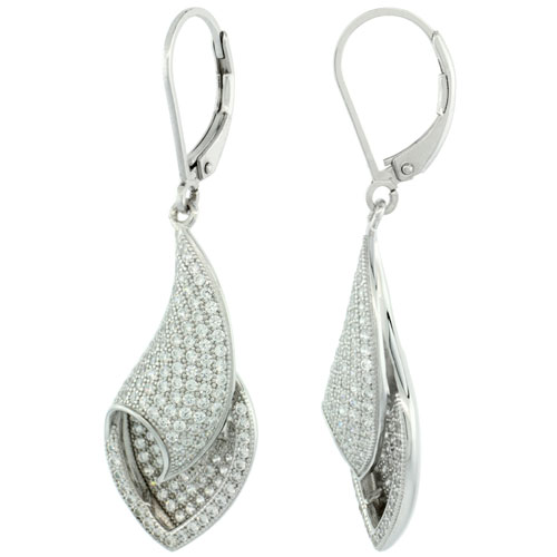 Sterling Silver Micro Pave Shell lever back Earring w/ White Stones