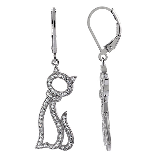 Sterling Silver Cat Outline Dangling CZ Earrings Micro Pave, 1 1/16 inch long