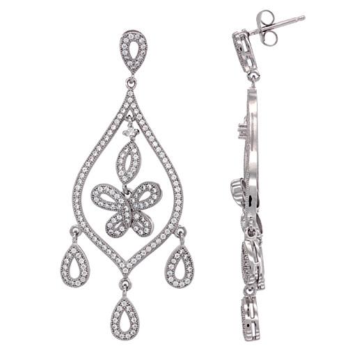 Sterling Silver Butterfly Girandole CZ Earrings Micro Pave, 2 1/4 inch long