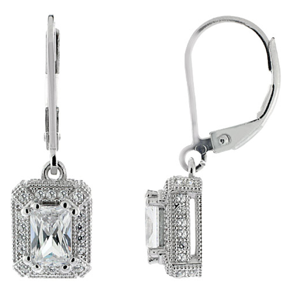 Sterling SiverDangling CZ Earrings Emerald Cut 4x6mm Micro Pave, 3/8 inch long