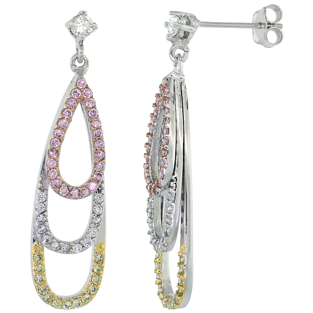 Sterling Silver Graduating Teardrops CZ Earrings Micro Pave Tri-Color Finish, 1 5/16 inch long