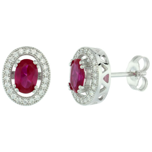 Sterling Silver Micro Pave Oval Earring white Cubic Zirconia Centered w/ Pink Prong Set Stone