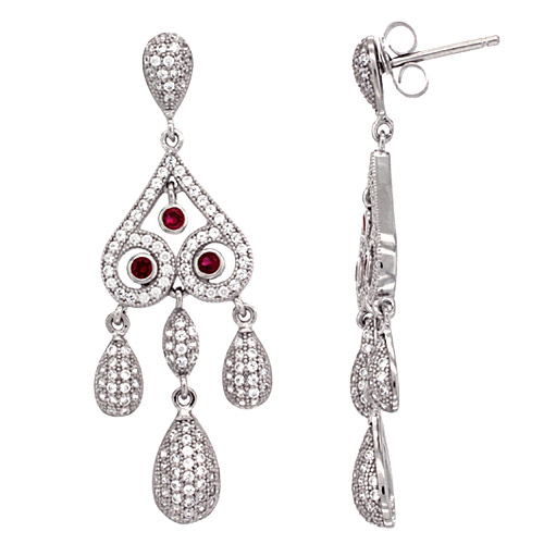 Sterling Silver Girandole CZ Earrings Micro Pave Ruby & White Stones, 1 11/16 inch long