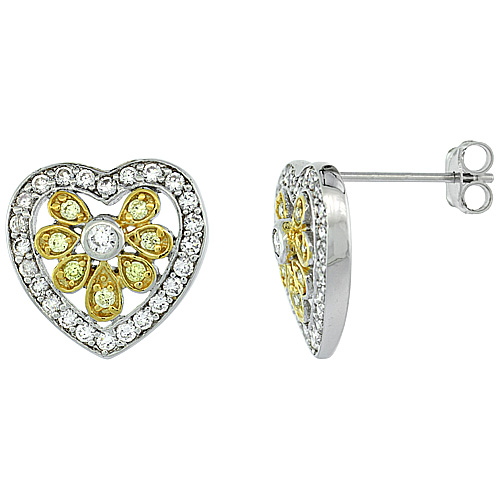 Sterling Silver Floral Heart Shape CZ Earrings Micro Pave Yellow Gold Accents, 11/16 inch long