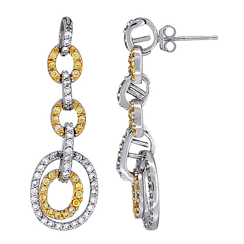 Sterling Silver Oval Links CZ Earrings Micro Pave Two Tone Finish, 1 11/16 inch long