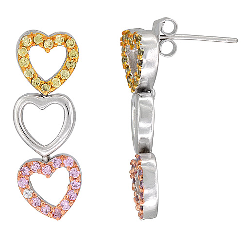 Sterling Silver Triple Open Heart CZ Earrings Micro Pave Tri-Color Finish, 1 1/8 inch long