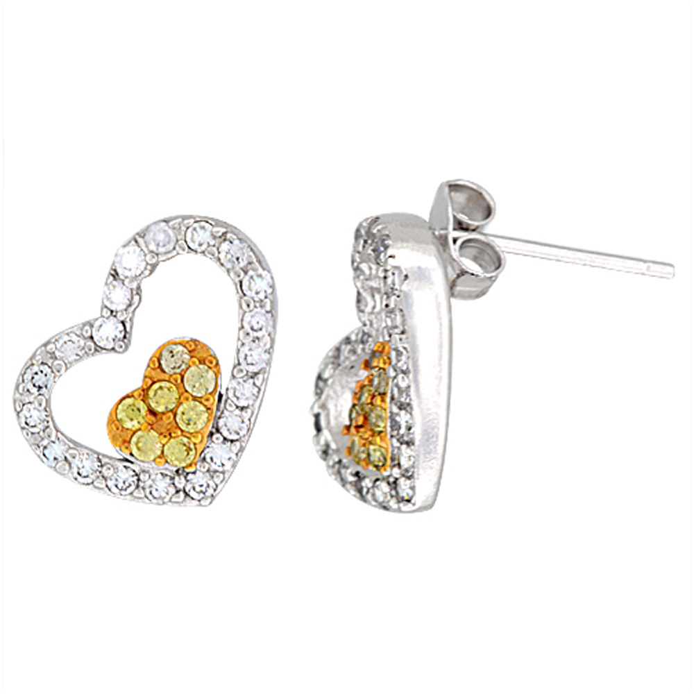 Sterling Silver Tilted Heart CZ Earrings Micro Pave Yellow Gold Finish, 9/16 inch long