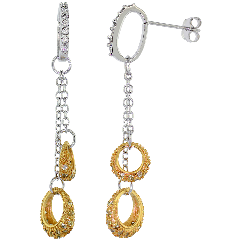 Sterling Silver Dangling Circles CZ Earrings Micro Pave Yellow Gold Finish, 1 7/8 inch in diameter