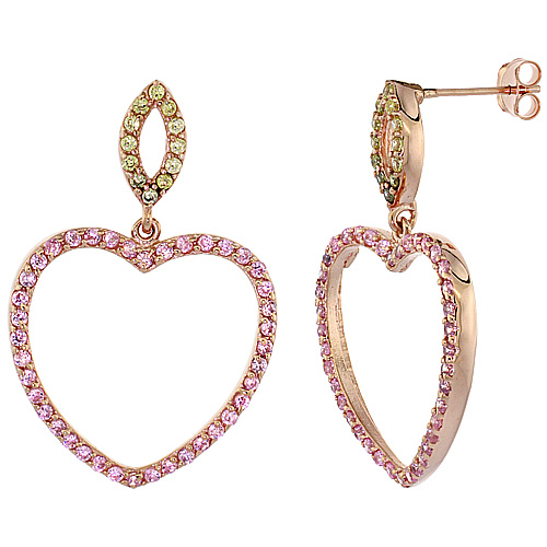 Sterling Silver Open Heart CZ Earrings Micro Pave Rose Gold Finish, 1 inch long
