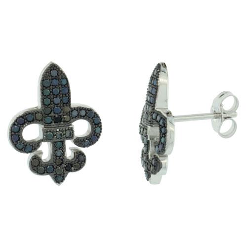 Sterling Silver Micro Pave Fleur-De-Lis Earring w/ Black Stones