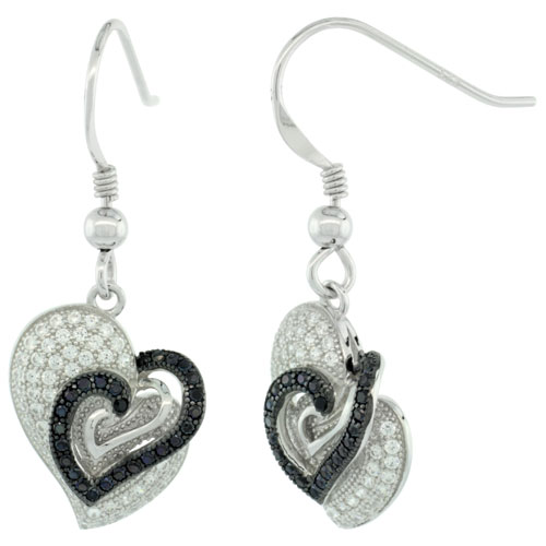 Sterling Silver Micro Pave Three Hearts In One Hook Earring w/ Black & White Stones